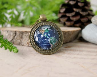 Planet Earth Necklace, Antique Bronze Pendant, Glass Dome Pendant, Space Jewelry, Galaxy Jewelry