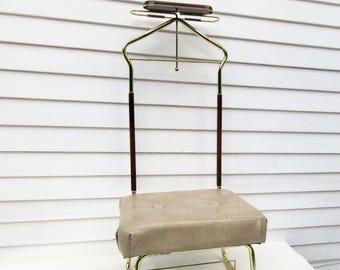 Vintage Valet | Vinyl Stool | Valet Butler | Brass Butler Stand | Valet with Seat | Bench Seat | MCM Furniture | Metal Clothes Rack |