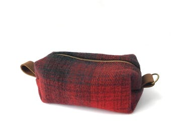 READY TO SHIP: Medium Toiletry Bag - Black & Red Plaid Blanket with Leather