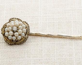 Gold Pearl Rhinestone Flower Hair Clip Embellished Bobby Pin Handmade in USA Hair Pins 16V