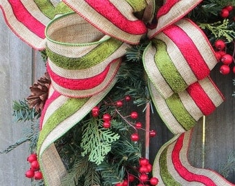 "Christmas Wreath Bow, 4"" Wired Bow for Christmas, Striped Christmas Ribbon for Wreath, Lantern, Christmas Decoration, Messy Bow"