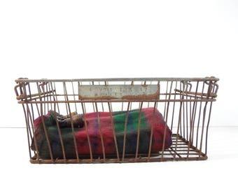 Vintage Metal Wire Crate / Industrial Storage