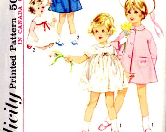 1963 Simplicity 5335 Size 2 Girls One-Piece Dress Coat Detachable Collar Cuffs Sewing Pattern Supply Flared Coat Gathered Dress ff ME