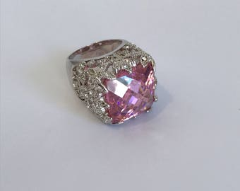 Vintage Pink Sapphire and Pave Large Stone Estate Ring Statement Cocktail Ring Fancy Pink Diamond Pink Stone Ring