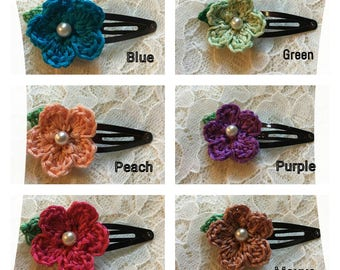 Crocheted Flower Barrettes with Pearl, Hair Clip