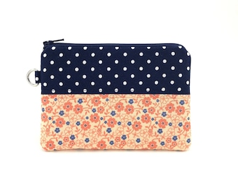 Patchwork Pouch - Coin Purse - Keychain Pouch - Small Zipper Wallet - Navy Blue Polka Dot Flower Zipper Pouch - Padded Pouch