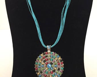 Multicolored Pendant on Turquoise Corded Necklace Beautiful Summer Necklace