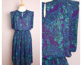 Vintage 1980's Teal + Purple Abstract Print Midi Dress L
