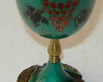 Vintage Hakuli KIDDUSH WINE GOBLET - Verdigris Brass & Enamel -Judaica Footed Green Wine Glass w/ Hebrew Blessing - Made in Israel