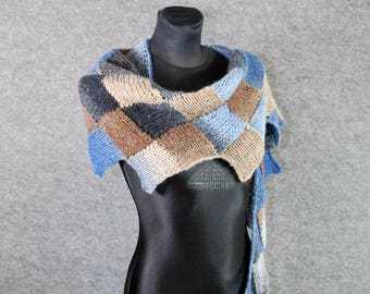 Multicolor knit scarf, Hand knitted scarf, Tweed scarf,  Entrelac scarf, Patchwork scarf,  Hand knit wool scarf, Scarflette, Gift for sister