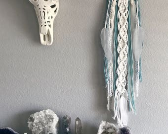 Pastel Blue Dream Catcher // Macrame Wall Art Decor, White Yarn, Aquamarine Crystal Stone, White Feather, Boho Teen Girl Room, Boys Nursery