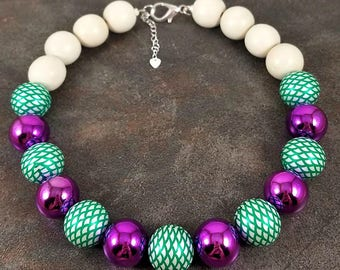 Statement Necklace, Mermaid Necklace, Gumball Necklace, Wood Necklace, Chunky Necklace, Purple, Green, White, Beaded Necklace