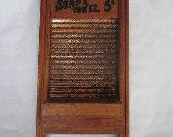 Washboard, Vintage Decorative Reproduction Wall Display Floral Greenery Key Mail Holder
