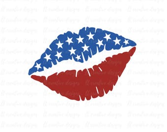 Flag Lips Svg, American Flag Lip SVG, Fourth of July SVG, 4th of July Svg, Patriotic Lips Svg, Svg Files, Cricut Files, Silhouette Files