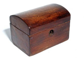 Antique wooden Tea Caddy, small English domed box, English Mahogany Box, Georgian Tea Caddy, 19th C Tea Caddy