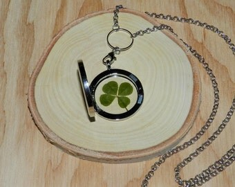 Good luck necklace, Real four leaf clover necklace, Lucky shamrock necklace, Pressed clover necklace, Pressed shamrock necklace, 4 leaf clov