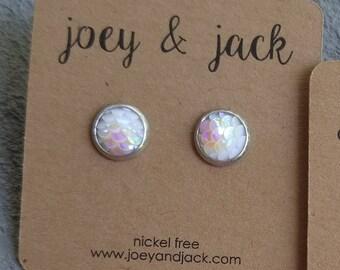 Little iridescent white mermaid scale stud earrings! Stainless steel, nickel free! Handmade! 8mm round
