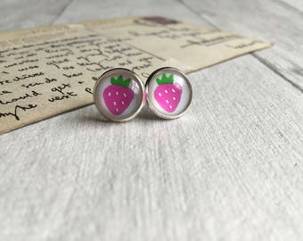 Pink strawberry earrings, summer jewellery, gifts for teen, summer earrings, fruit earrings, strawberry studs, post earrings, strawberries