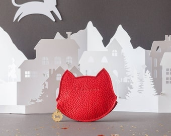 Cute friend gift, Coin Wallet, Kitty Bag, Leather Coin Pouch, Orange Patent Leather, pet lover accessories, kawaii pouch, romantic gift