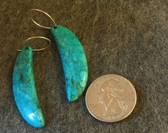 """Turquoise Dangle and Drop Earrings Hand carved left/right 2.25"""" L"""