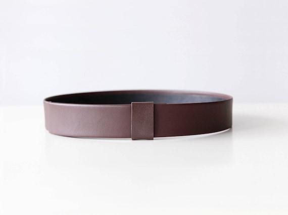 Brown women waist belt- brown vegan leather belt- modern and minimalist leather look sleek flat high waist belt