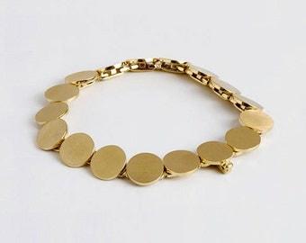 Large Gold Bracelet, Flexible Bracelet, Discs Bracelet, Gold Links Bracelet, Disk Jewelry 14k 18k Gold Bracelet for Woman, Handmade Bracelet