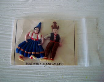 Vintage EMBROIDERED Folk Art Boy & Girl PIN  with FREE Shipping! Hand Made from Madeira, Spain