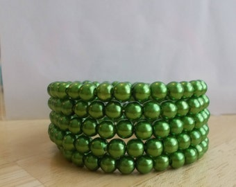 5 Row Memory Wire Cuff Bracelet made with Green sea shell Pearls
