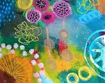 abstrct, colourfull painting on handmade paper, summer vibes, mixed media, contemporary painting