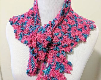 Pink and blue silk crochet shawlette Handmade