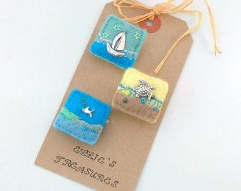 brooch set, sea life jewellery, mini brooches, handmade badges, holiday accessories, seaside beach life, lapel brooches, elliestreasures, UK