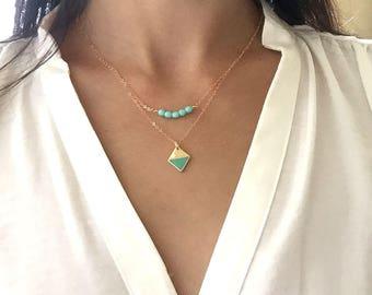 mint beaded layering necklace, Geometric layered necklace, Minimalist, 14K Gold necklace, Dainty Necklace, everyday necklace,  skyblue beads