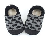truck baby shoes black truck booties rubber sole shoes black and gray booties rubber toe soft sole shoes truck slippers toddler truck shoes