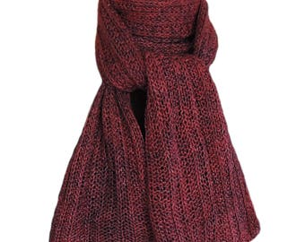 Hand Knit Scarf  - Burgundy Purple Silky Merino Trail Rib