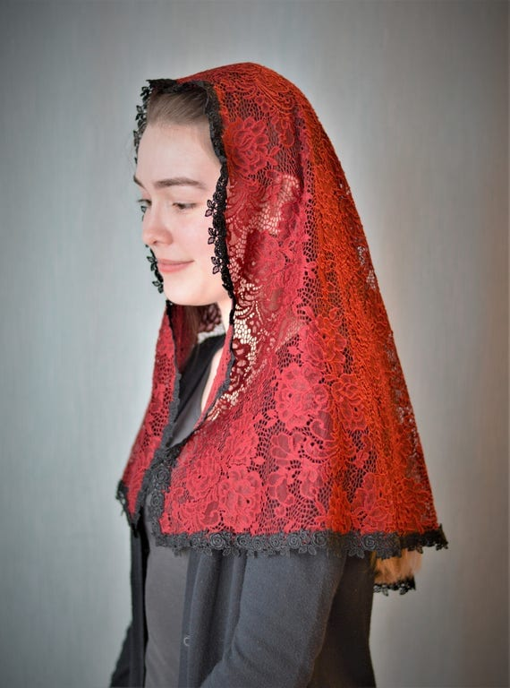 Deep Red Chapel Veil | Catholic Mantilla Veil for Mass Veil Robin Nest Catholic Chapel Veil Mantilla Veil Red Veil Pentecost Martyrs Feast