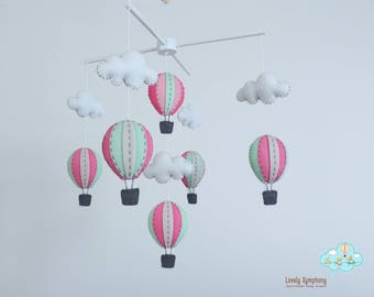 pastel pink and mint hot air balloons baby mobile - baby mobile - pink baby mobile, sweet baby mobile, girl baby mobile