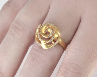 Rose Wire Ring, Unique Statement Ring, Gold Wire Ring, Diamond Flower Ring, Diamond Ring, Wire Wrapped Ring, Gold Spiral ring, Coiled Ring