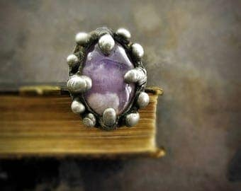 huge AMETHYST ring • antiqued ring textured silver natural stone ring sterling silver ring with stone adjustable ring raw stone jewelry