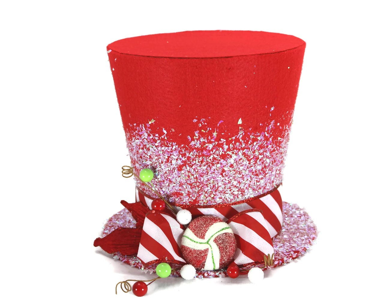 Tree Topper Candy Cane Christmas Tree Topper. Holiday Hat