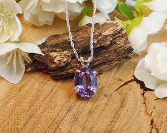 Alexandrite Necklace, June Birthstone, Solid Sterling Silver, 6.64 Cts Facet 13.40 x 9.90 mm Natural Clear Alexandrite Color Changing