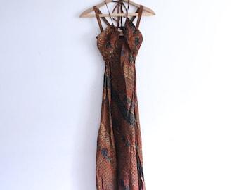 Copper 90s Halter Maxi Dress