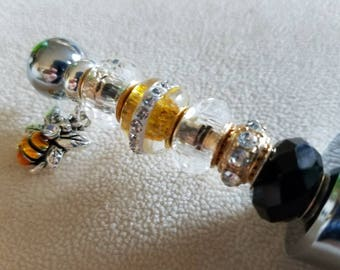 Bee Wine Stopper made with Beautiful Glass Yellow Bead with Bling, Clear and Black Beads and a DaVinci Gold and Black Bumble Bee Charm