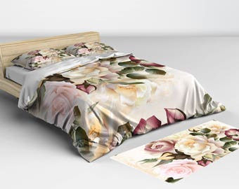 Duvet Covers, and, Comforters, Beautiful Vintage Rose Duvet Cover Twin Full Queen and King Sizes Matching Pillow Shams Available