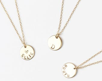 Personalised Gold Disc Necklace • Gold Name Necklace • Gold Letter Necklace • Gold Name Disk Necklace • Personalised Necklace • Initial Disc