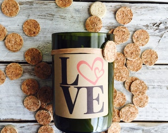 Love hearts...Candles made out of recycled wine bottles