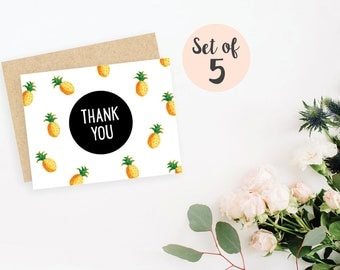 Set of 5 Pineapples Thank You cards / blank inside / kraft envelopes