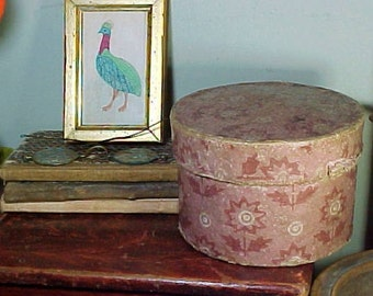 Antique Wallpaper Band Box, Top of Stack, Hand Stitched, Antique Primitive