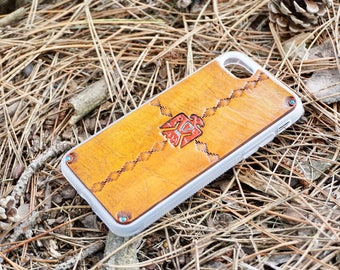Leather iPhone 8 Case | Southwestern Thunderbird / Eagle