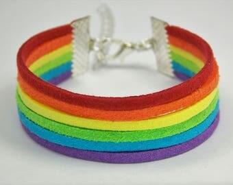 Rainbow Gay Pride LGBT Flag -- Adjustable Faux Leather Suede Strands Layered Bracelet