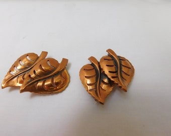 Vintage copper pins-nicely detailed pair of vintage copper leaf pins-pair of copper brooches